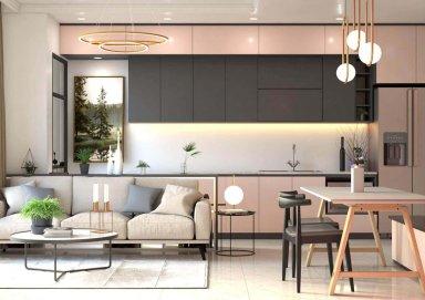 Thiết kế nội thất chung cư hiện đại với sự kết hợp nội thất và kính hoàn mỹ