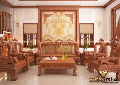 Nội thất khách bếp tân cổ điển gỗ gõ tự nhiên đầy sang trọng