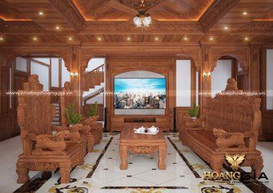 Mẫu thiết kế nội thất tân cổ điển cho biệt thự gỗ sang trọng