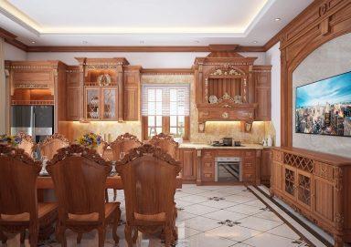 Lôi cuốn với mẫu thiết kế phòng bếp tân cổ điển gỗ tự nhiên sang trọng