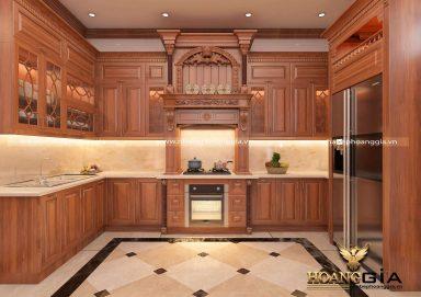 Thiết kế phòng khách bếp tân cổ điển gỗ gõ nhà chị Thùy Anh (Thanh Hóa)