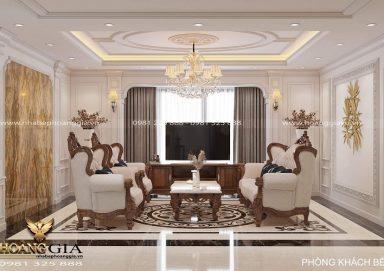 Mẫu thiết kế phòng khách bếp tân cổ điển nhà chung cư ấn tượng