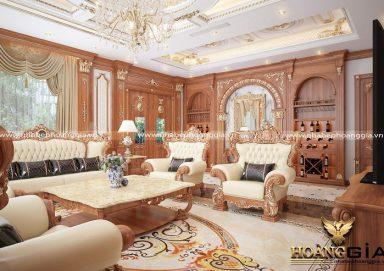 Đẳng cấp với phòng khách bếp tân cổ điển nhà biệt thự gỗ gõ đỏ dát vàng