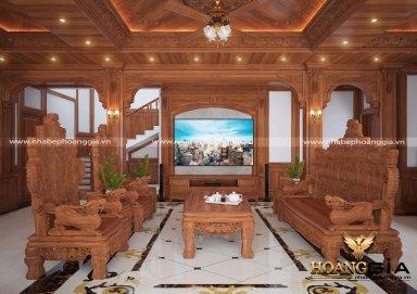 Mẫu phòng khách đồng kỵ chất liệu gỗ gõ đỏ cho nhà biệt thự