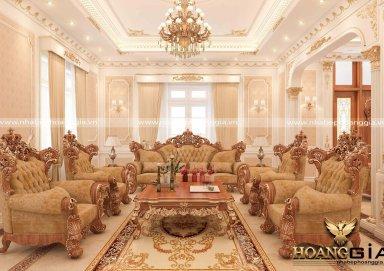 Mẫu thiết kế phòng khách biệt thự cao cấp đầy sang trọng