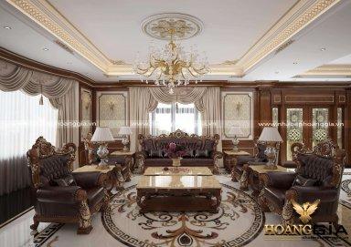 Đẳng cấp với mẫu thiết kế phòng khách biệt thự phong cách cổ điển