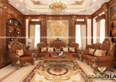 Nổi bật với nội thất phòng khách cổ điển dát vàng cho nhà biệt thự