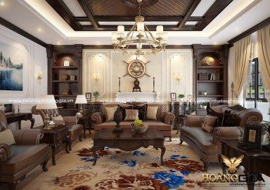 Mẫu thiết kế nội thất tân cổ điển với sofa bọc da sang trọng