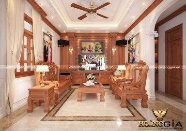 Phòng khách đẹp lịch lãm với sofa đồng kỵ tân cổ điển PKTCD 15
