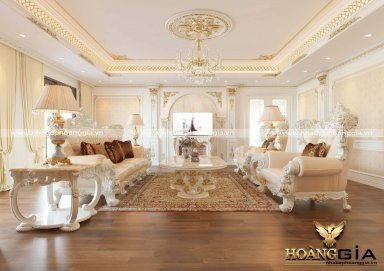 Mẫu thiết kế phòng khách đẹp tân cổ điển sơn trắng đầy lôi cuốn