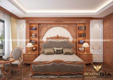 Mẫu phòng ngủ gỗ gõ đẹp theo phong cách tân cổ tinh tế