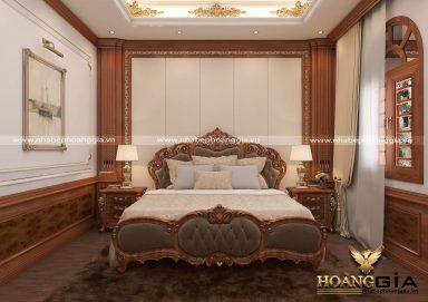 Mẫu thiết kế nội thất phòng ngủ gỗ tự nhiên sang trọng