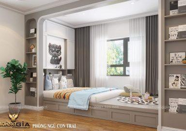Phương án thiết kế phòng ngủ hiện đại cho con trai anh Dũng (Hưng Yên)