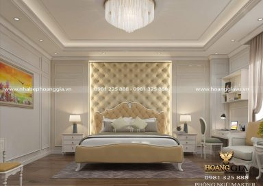 Mẫu thiết kế nội thất phòng ngủ master tân cổ điển nhà chị Kim Chi