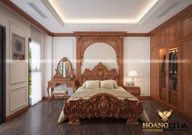 Không gian phòng ngủ gỗ tự nhiên cao cấp cho nhà biệt thự
