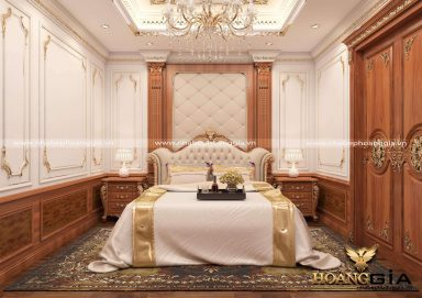 Mẫu phòng ngủ phong cách tân cổ điển sang trọng với chất liệu gỗ gõ đỏ