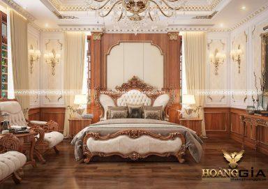 Nội thất tân cổ điển gỗ gõ đỏ cho phòng ngủ nhà biệt thự