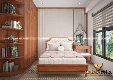 Mẫu nội thất phòng ngủ gỗ tự nhiên tân cổ điển nhẹ nhàng cho con gái