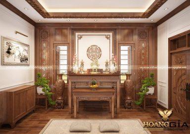 Mẫu thiết kế phòng thờ gỗ tự nhiên trang nghiêm