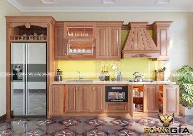 Mẫu tủ bếp gỗ tự nhiên tân cổ điển TBTCD02
