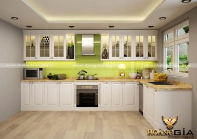 Mẫu tủ bếp phong cách tân cổ điển nhẹ nhàng TBTCD10