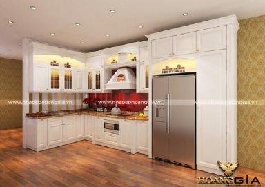 Mẫu tủ bếp phong cách tân cổ điển TBTCD20