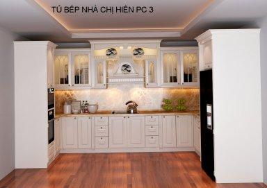Mẫu tủ bếp phong cách tân cổ điển TBTCD23