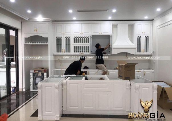 Dự án thi công phòng bếp tân cổ điển sơn trắng nhà anh Hà (Hải Dương)