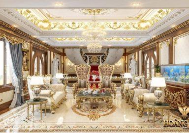 Đẳng cấp với mẫu thiết kế phòng khách cổ điển nhà biệt thự