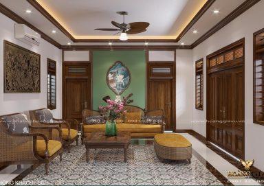 Mẫu thiết kế nội thất phòng khách bếp tân cổ điển truyền thống