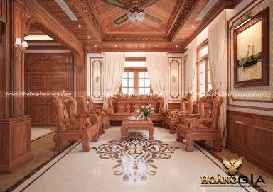 Nội thất phòng khách gỗ gõ đỏ tự nhiên sang trọng cho biệt thự