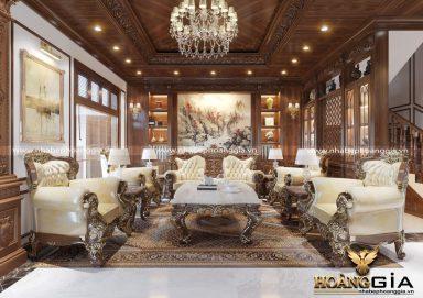 Phòng khách liên thông phòng bếp cho biệt thự gỗ tự nhiên cao cấp