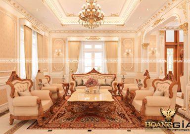 Tinh tế đầy lôi cuốn với mẫu phòng khách nhà biệt thự tân cổ điển