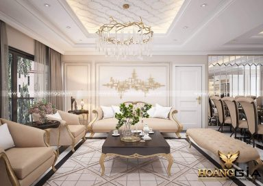 Tham khảo thiết kế phòng khách chung cư tân cổ điển đẹp, sang trọng