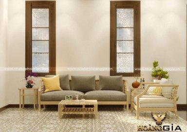 Mẫu thiết kế phòng khách đẹp phong cách Đông Dương ấn tượng