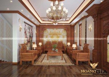 Mẫu thiết kế phòng khách đồng kỵ gỗ gõ đỏ đầy sang trọng