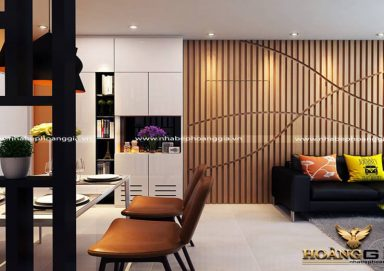 Phòng khách gỗ tự nhiên kết hợp công nghiệp hiện đại PKHD07