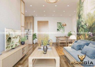 Thiết kế phòng khách bếp phong cách Indochine cho nhà chung cư