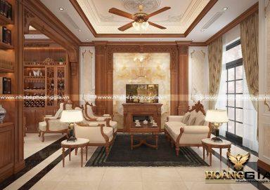 Tham khảo mẫu thiết kế phòng khách tân cổ điển nhẹ nhàng