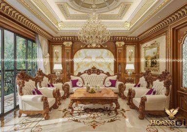 Mẫu thiết kế nội thất tân cổ điển xứng tầm với phòng khách biệt thự
