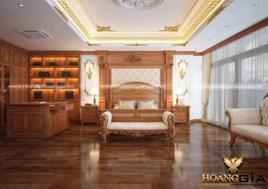 Mẫu thiết kế nội thất phòng ngủ gỗ gõ đỏ cao cấp