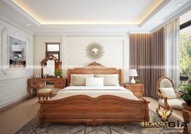 Mẫu thiết kế phòng ngủ đẹp tân cổ điển gỗ gõ PNTCD 23