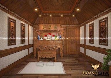 Mẫu thiết kế phòng thờ sang trọng với chất liệu gỗ gõ đỏ