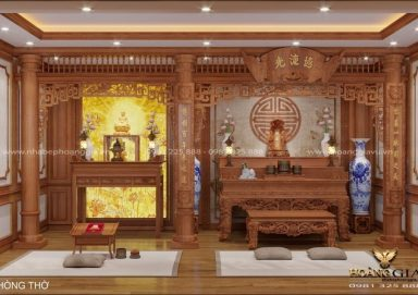 Mẫu thiết kế bàn thờ phật kết hợp bàn thờ gia tiên sang trọng