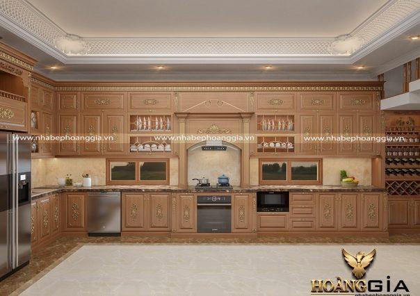 Dự án thiết kế thi công tủ bếp tân cổ điển nhà chị Lan Anh (Hưng Yên)