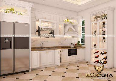 Dự án thiết kế và thi công tủ bếp tân cổ điển nhà chú Vỹ (Thái Bình)