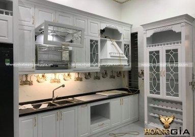 Ảnh thực tế thi công tủ bếp tân cổ điển nhà chú Vỹ (Thái Bình)