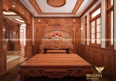 Mẫu thiết kế phòng thờ gỗ gõ đỏ cho nhà biệt thự sang trọng