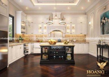Mẫu tủ bếp đẹp tân cổ điển đầy ấn tượng cho nhà phố
