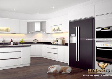 Mẫu tủ bếp gỗ Acrylic hình chữ G tiện lợi